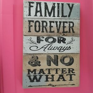 Family Forever Wall Art Plaque Wooden